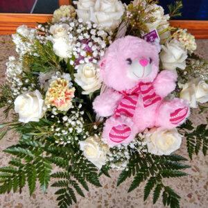 cesta de flor variada con peluche 70€ reducida